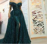 longo verde prom vestidos venda por atacado-Verde Arábia escuro árabe Mermaid Evening vestido longo destacáveis trem Prom Dresses 2019 Dubai Turco Off Vestidos de noite ombro