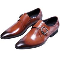 ingrosso scarpe marrone scuro-CLORISRUO Moda nero / marrone / marrone Tan Business Shoes Mens Dress Shoes in vera pelle uomo da sposa lavoro con Bu