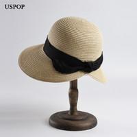vintage papier strohhalme großhandel-USPOP 2019 neue Frauen Sonnenhut breiter Rand Papier Stroh Sonnenhut Vintage Bogen Strand zurück Stroh