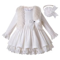 Wholesale girls white dress coat for sale - Group buy Pettigirl Fashion White Corduroy Girls Dresses With Headwear Princess Dress for Girl Boutique Ruffle Kids Clothes G DMCS206