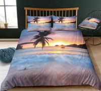 ozean bettwäsche gesetzt königin großhandel-Thumbedding Dropship Beliebte Entworfene Sea Beach Bettwäsche-Sets Ocean Style Twin Voll Königin König 3D Bettbezug Set mit Kissenbezug