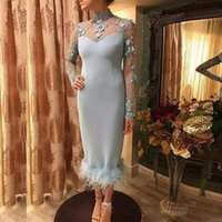 Wholesale blue prom dresses for sale - Custom Made Sheath Prom Dresses High Neck Lace Appliques Long Sleeves Formal Evening Dresses Satin Zipper Back Feather Cocktail Party Gowns