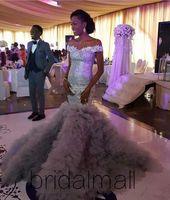 saia trompete longa venda por atacado-Sereia sexy africanos Prom Ruffles Saias Lantejoulas Lace Trompete nigerianos Vestidos Off-ombro formal elegante vestidos longos partido
