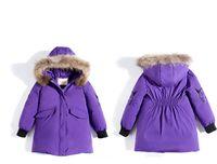 abrigos para niños negro blanco al por mayor-Chaqueta de invierno para niñas Niños pato blanco abajo Abrigo largo Chaqueta con capucha cálida y gruesa Nueva chaqueta de color púrpura rosa negro