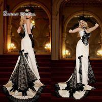 encaje de gama alta al por mayor-2019 Vintage largo blanco satinado sirena vestido de novia arcos de encaje negro Sexy traje de noche vestido formal de gama alta de la boda Boutique