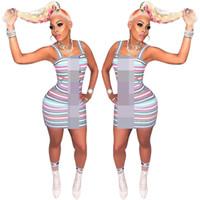 tasarımcı tek parça kadın elbiseleri toptan satış-2019 Tasarımcı Kadın Yaz Elbiseler Kontrast Renk Şerit Tek Parça Bodycon Elbise Kadınlar Lüks Kısa Etekler Parti Elbise Giyim C61907
