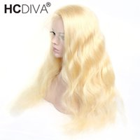Wholesale hairstyles brazilian body wave hair resale online - HCDIVA Honey Blonde Wigs Blonde Full Lace Wigs x4 Lace Front Human Hair Wigs Brazilian Body Wave Density Transparent Lace