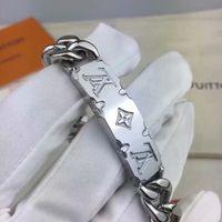 weiße metallarmbänder großhandel-Geschnitzte M62486 MONOGRAMM Service-Muster und glänzende Metall Mann Weißmetall Armbänder Kettenarmbänder