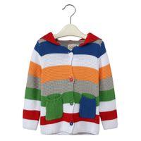 chaquetas infantiles de punto al por mayor-Rainbow Striped Niños Cardigans Bebé Abrigos Ropa Ropa Suéter de lana de punto Sudaderas Con Capucha Niños Chaquetas Chica Jumpers 3-10Years