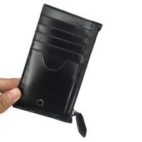 fermuar cüzdan kılıfı toptan satış-Yeni tasarımcı zanaat M cüzdan kartvizit durumda kredi kartı tutucu ultra-ince fermuarlı çanta çok pozisyonlu kart yuvası siyah moda kemer kutusu