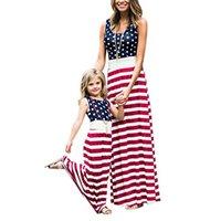 ingrosso vestiti 4 luglio-Abiti natalizi della bandiera americana Mommy e Me Stripe Beach