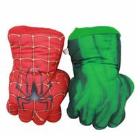 örümcek adam malzeme oyuncakları toptan satış-Avengers Süper Kahraman Peluş Hulk Eldiven 25 cm Yumuşak Peluche Dolması SpiderMan Şekil Hulk Eller Anime Figürinler Oyuncaklar Çocuklar için