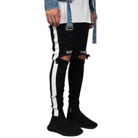 pantalon jeans großhandel-Feitong Männer Denim Stickerei Baumwolle Gerade Loch Tasche Hose Distressed Jeans Hose streetwear pantalon homme kostüm # 3