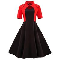ingrosso abiti cinesi di colore nero-Abito vintage donna rosso nero patchwork manica corta Sweetheart stile cinese elegante donna 2019 estate abiti taglie forti
