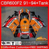 laranja f2 venda por atacado-Corpo + tanque para Honda CBR 600F2 CBR600FS CBR 600 FS F2 91 92 93 94 40HC.0 600CC CBR600 F2 CBR600F2 1991 1992 1993 1994 carenagem Repsol laranja