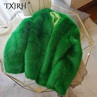 sahte kürk kore toptan satış-TXJRH Şık Kış Yeşil V Yaka Shaggy Tüylü Faux Fox Kürk Ceket Vintage Kore Gevşek Sıcak Tutmak Kürk Ceket Femme Dış Giyim Tops