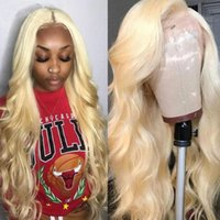 Wholesale white blonde human long wigs resale online - Brazilian Body Wave Full Lace Wigs Blonde Human Hair Glueless For white Women Straight Pre Plucked Lace Front Wigs