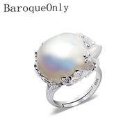 barocke ringe großhandel-Baroqueonly 925 silberner Ring 15-22mm großer Größen-barocker unregelmäßiger Perlen-Ring, Frauen-Geschenke J190524