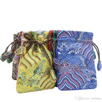 Wholesale chinese silk drawstring bags resale online - High End Wave Small Large Silk Brocade Pouch Christmas Wedding Gift Bags Chinese Drawstring Birthday Party Favor Bags Vintage Storage Pouch