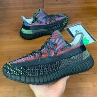Wholesale women glow sneakers resale online - New Yecheil Black Static Reflective Tail Light Earth Kanye West Men Running Shoes Gid Glow Clay Beluga Women Sneakers Shoes