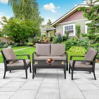 outdoor rattan sets toptan satış-4 ADET Veranda Rattan Mobilya Seti Çay Masa Sandalyeler Açık Bahçe Çelik Çerçeve Yeni