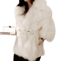 поддельный мех кролика оптовых-Толстые Теплый Ladies Luxury норка пальто Пушистый искусственного меха куртки 2019 Winter Plus Размер Поддельный Кролик Шуба манто Fourrure Femme 2XL