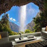 faser fotopapier großhandel-3D Fototapete Höhle Wasserfall Naturlandschaft Große Wandbild Benutzerdefinierte Tapeten Wohnkultur Tapete Wohnzimmer Schlafzimmer