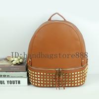 okul çantası çantası toptan satış-Sıcak satış Moda kadınlar Perçin sırt çantası bayan çanta kız okul çantası bayanlar Tasarımcı çanta omuz çantaları çanta seyahat paketi