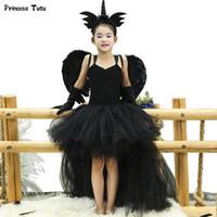 ingrosso coda nera corta-Black Angel Tutu Dress Before Short Dopo Tulle Long Girl Dress Tail Bambini Pageant Evening Party Dress Ragazze Halloween Costume Y190515