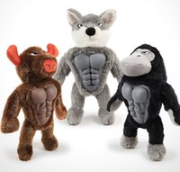 Wholesale muscles toys resale online - New Pet Toy TPR Breast Muscles Plush Sound Animal Werewolf Bison King Kong Dog Toy Pectorals Pet Toy