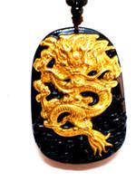 ingrosso catene in oro giallo-18K 999 puro oro giallo intarsio ossidiana naturale giada nera ciondolo drago collana maglione catena di gioielli regalo all'ingrosso