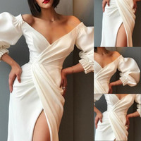 modern maxi gece elbisesi toptan satış-Zarif Katı Akşam Balo Abiye Parti Elbiseler Kadınlar için Seksi V Boyun Puf Kollu Elbiseler Siyah Beyaz Kapalı Omuz Yüksek Bölünmüş Maxi Vestidos