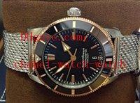 спортивные наручные часы оптовых-Мужские автоматические механические часы Superocean Heritage II UB2030 Bi / Color 2019 UNWORN Сталь из 18-каратного розового золота с черным циферблатом Мужские спортивные часы