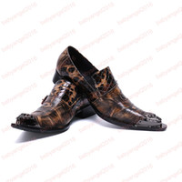 schlange braun groihandel-New Formal Men Dress Schuhe Brown Snake Pattern Buckle Party Schuhe Man Office Business Lederschuhe
