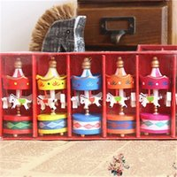Wholesale carousels toys resale online - Romantic Carousel Horse Ornament Birthday Present Mini Color Wooden Horse Children Toys Photography Props Home Decoration jy H1