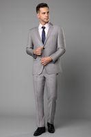 imágenes de traje de dos piezas al por mayor-Light Gray Wedding Tuxedos Slim Fit Trajes para hombres Padrinos de boda Traje de dos piezas Prom baratos trajes formales (chaqueta) Imagen real