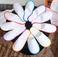 einweg-hotelschuhe großhandel-Anti-Rutsch-Einweg-Hausschuhe Travel Hotel SPA Home Guest Schuhe Multi-Farben einmalige Sandalen Atmungsaktive weiche Einweg Hausschuhe GGA2014