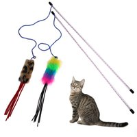 ingrosso bastoni di bacchetta di plastica-1/2 Pz Funny Cat Toys PlushTeaser Pet Cat Training Bacchetta Bastone Gioco Floss Plastic per Gatti Gattino Animali di piccola taglia Prodotti