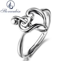 Wholesale music band jewelry for sale - Group buy Slovecabin Original Sterling Silver Note Wedding Rings For Women Luxury Jewelry Adjustable Heart Love Music Rings Female