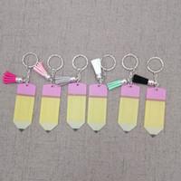 lehrer tag geschenke großhandel-Kreative Lehrer Tag Keychain Mode Acryl Bleistift Keychain personalisieren mit kleinen Quaste Schlüsselanhänger Festival Party Geschenk TTA1066