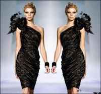 ingrosso zuhair murad fiore nero vestito-Zuhair Murad Little Black Formal Abiti da cocktail Una spalla Piume di fiori Prom Party Gown Beaded Ruffle Dress Sexy Club economici