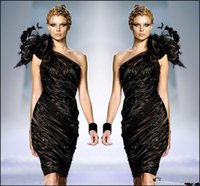 Wholesale zuhair murad black flower dress resale online - Zuhair Murad Little Black Formal Cocktail Dresses One Shoulder Flower Feathers Prom Party Gown Beaded Ruffle Dress Sexy Club Cheap