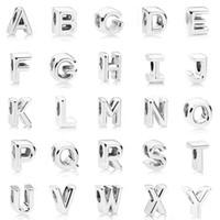 encantos de letras pulseras pandora al por mayor-925 de plata de ley inicial de letra del alfabeto A-Z grano ajuste encanta la pulsera Pandora original para hacer la joyería de las mujeres de bricolaje