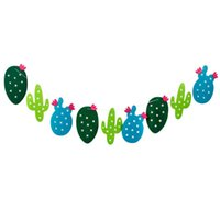 Wholesale bunting garlands resale online - 1 set Non woven Fabric Cactus Garland Banner Flag Bunting Garland Party Favors Home Decoration Birthday Party Event Supplies