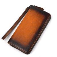 orange vintage brieftasche großhandel-Frauen echtes leder geldbörsen mit wristle luxus weibliche lange kupplung brieftasche männer kartenhalter geldbörse handytasche