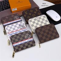 erkek cüzdan boyutu toptan satış-Ünlü Marka Katlanabilir Cüzdan Çanta PU Deri Erkek Kadın Küçük Boy Tasarım Kart Tutucu Çanta Ekose ve Şerit Nakış Çanta Çanta