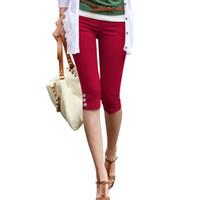legging noir blanc rouge achat en gros de-Leggings Capri D'été Pour Femmes Rouge Noir Blanc Stretch Crayon Pantalon Dames Casual Pantalon Maigre