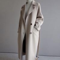 Cappotto invernale donne in tutto risvolto da cinta misto lana del cappotto oversize trincea lungo Outwear lane delle donne
