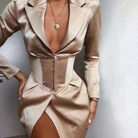 büyük boyun ceketleri toptan satış-Orta uzunlukta Bayanlar Suit Yaka Ceket 2020 İlkbahar Sonbahar Saf Retro Sexy V yaka ceket İnce Big Kadınlar WINDBREAKER feminino hendek