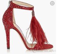 кристалл с открытыми пальцами оптовых-Новый стиль женщины популярный сандалии на высоком каблуке с бахромой из хрусталя с открытым носком и стразами с перьями на шпильках женские сандалии большого размера